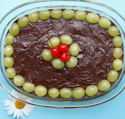Chocolate Coconut Recipe with Grape Topping.
