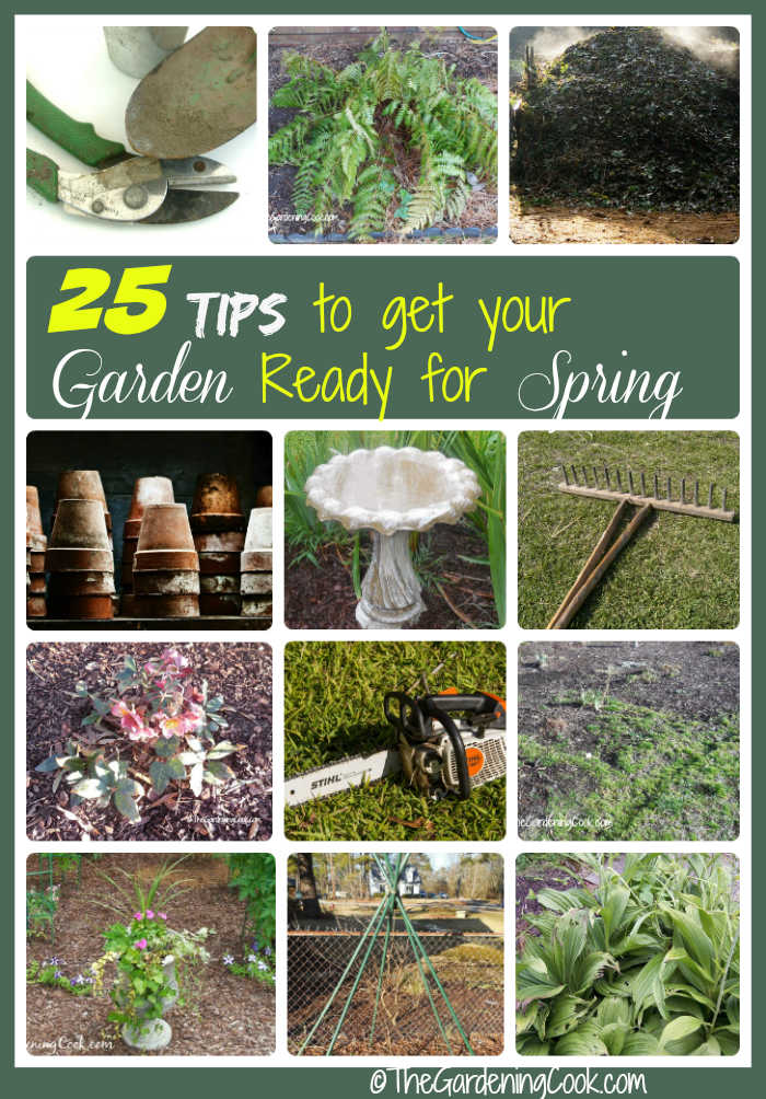 Collage showing gardening chores and words reading 25 tips to get your garden ready for spring.