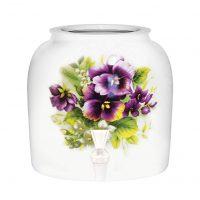 """Purple Pansies"" Porcelain Ceramic Water Dispenser Crock with Faucet"