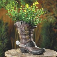 COWBOY BOOT shoe Country western Flower Pot Garden plant Planter yard art statue