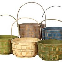 Napco Wood Basket with Handle, Decorative Bushel Style, Color Will Vary, 6 Inch, 6""