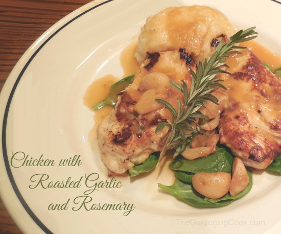 Chicken with Roasted Garlic Cloves, Mushrooms and Rosemary