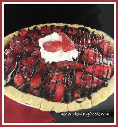 Easy Strawberry pie with chocolate drizzle and whip cream