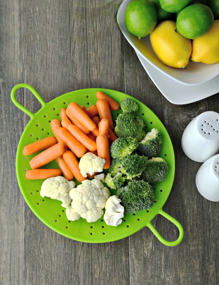 Vegetables on a steamer basket