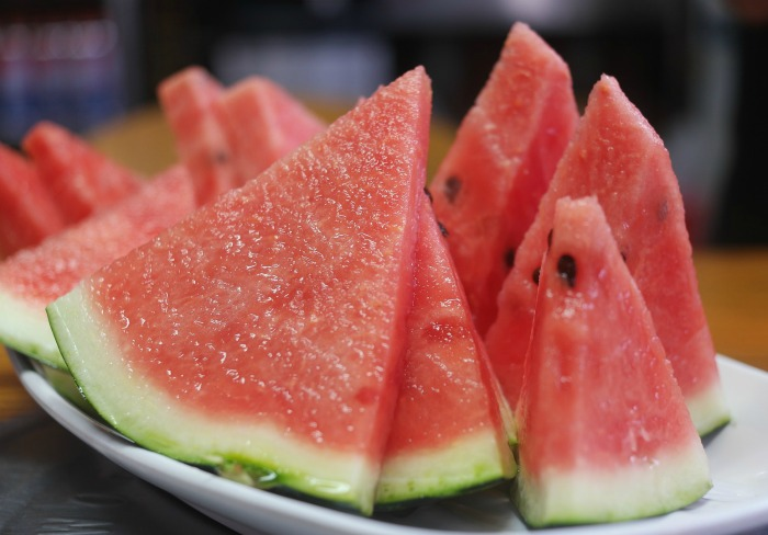Watermelon wedges on a plate