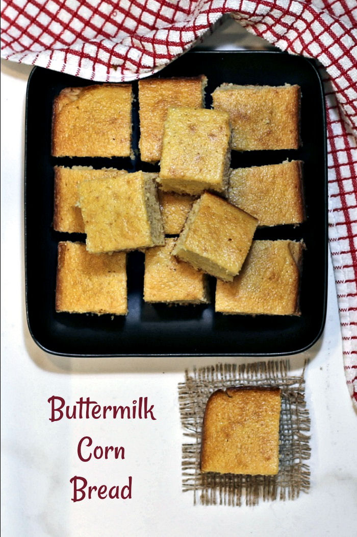 Southern cornbread with sugar and buttermilk