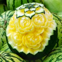 Yellow watermelon carving