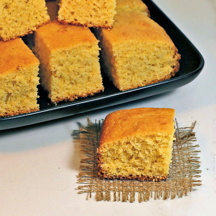 Squares of Southern corn bread - a delicious side dish