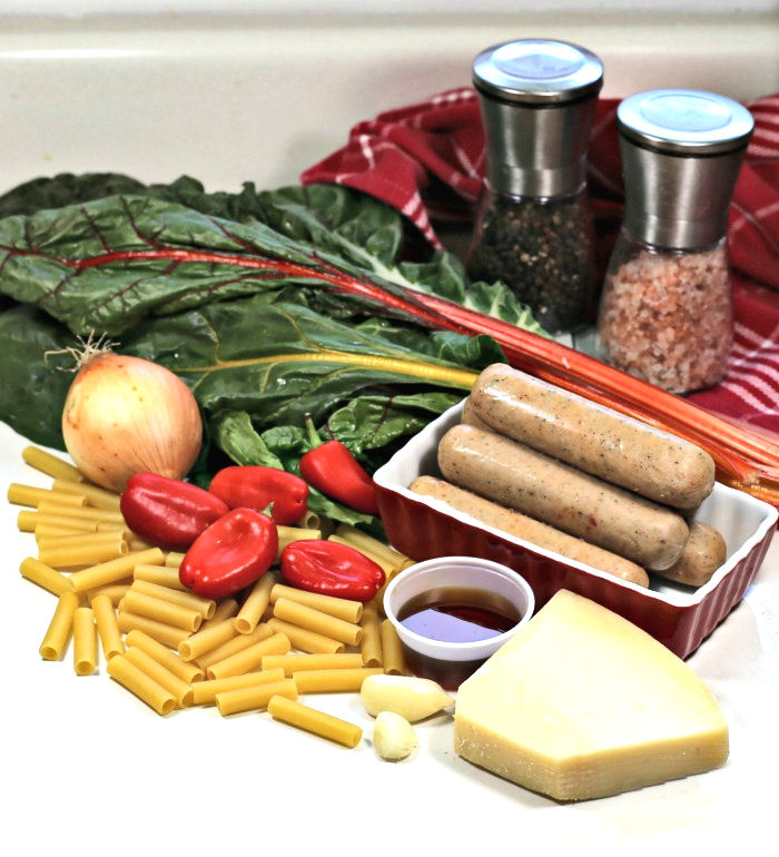 ingredients for ziti pasta with Italian sausages