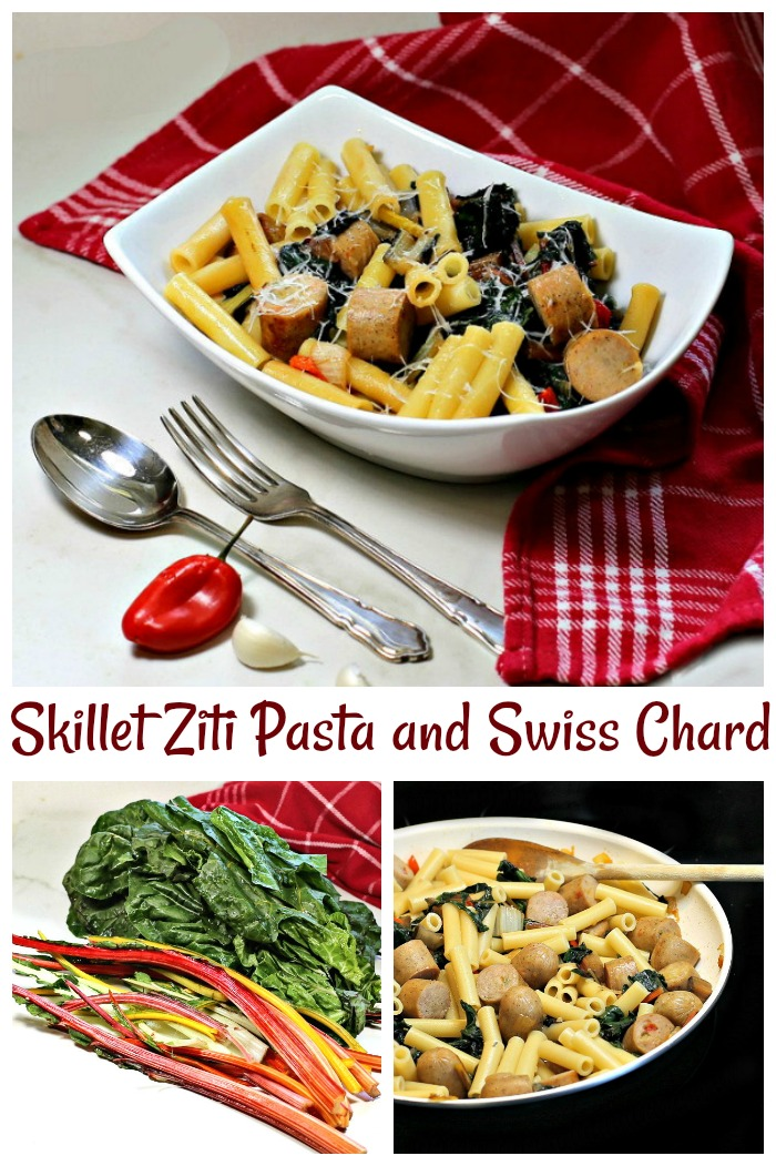 Skillet ziti pasta with Swiss Chard and Italian Sausages