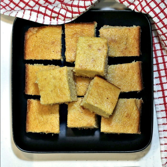 Cut squares of Southern Cornbread side dish