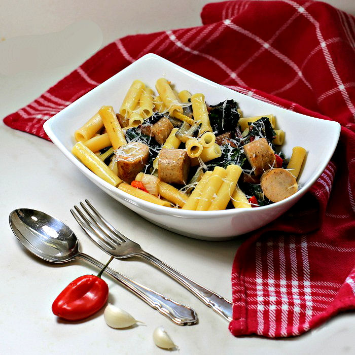 Ziti noodles and Italian sausages