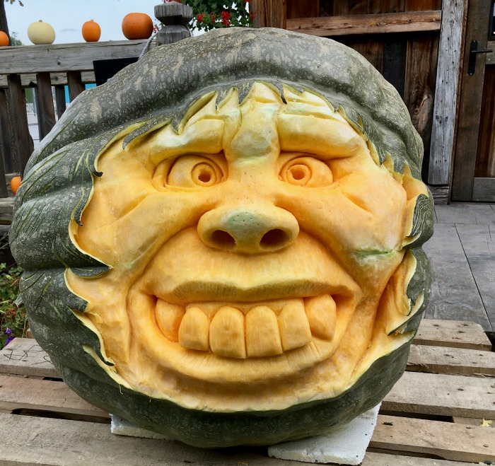 Face carved into a green pumpkin