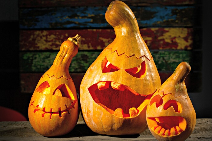 Butternut pumpkins carved into scary figures.