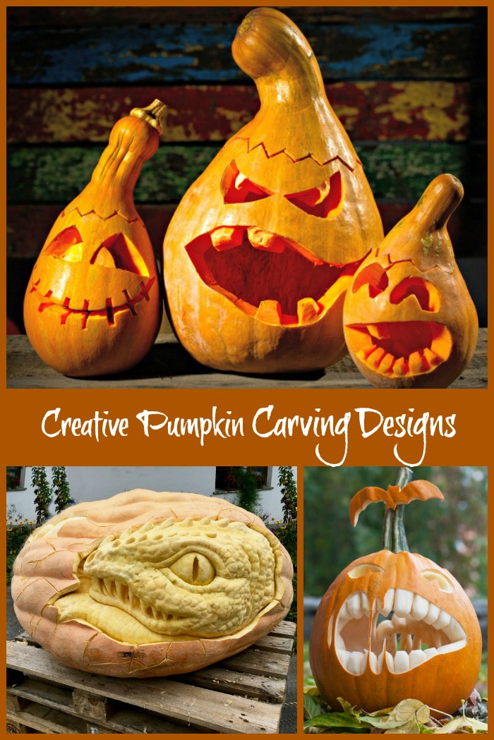 Creative Pumpkin carving designs collage.