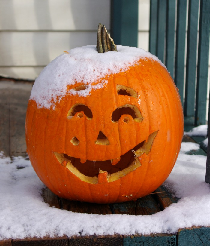 Jack O Lantern with snow on it.