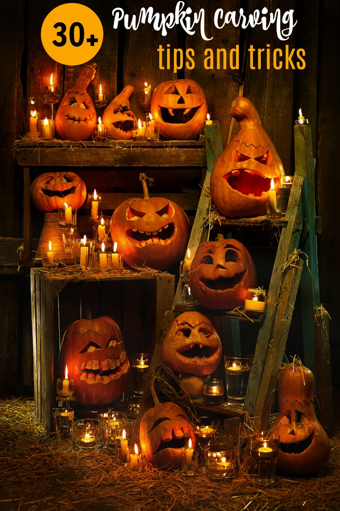 "Shelves of pumpkins with the words ""30"" pumpkin carving tips and tricks."""