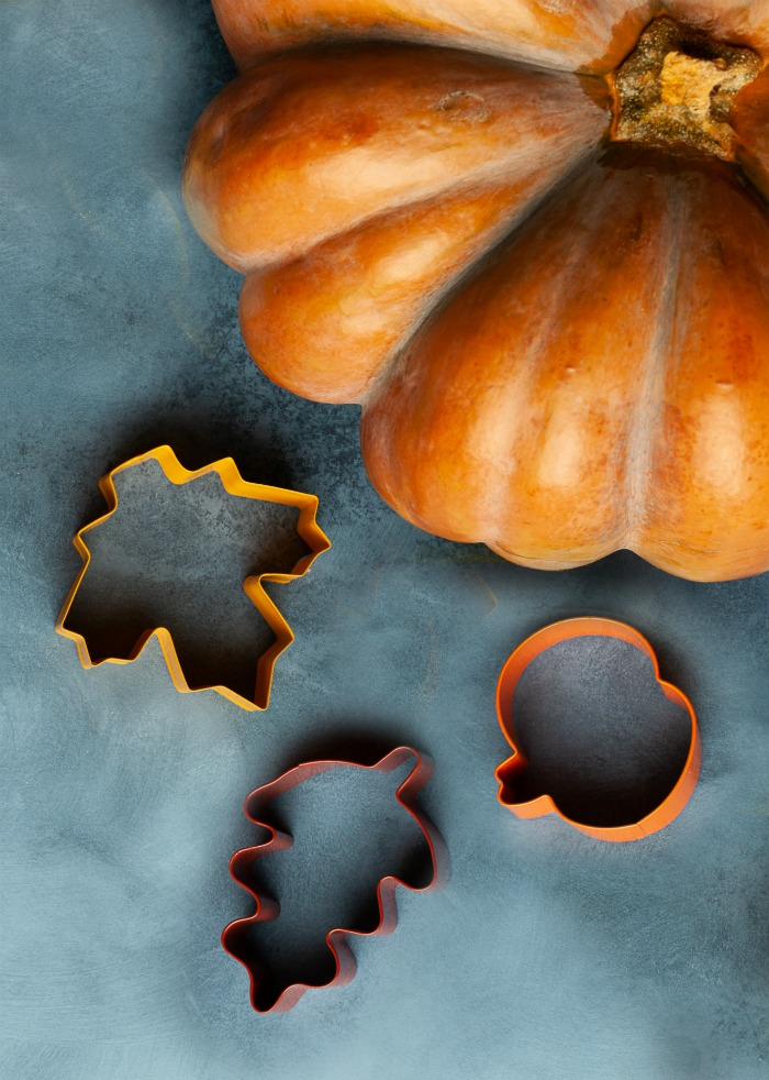 Cookie cutters and pumpkin