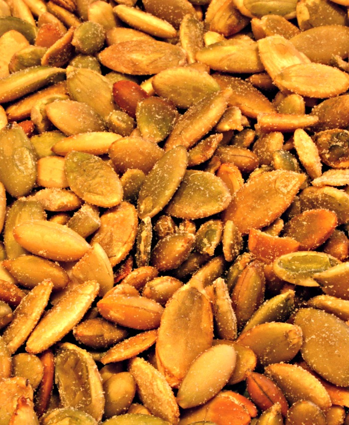 Toasted and salted pumpkin seeds