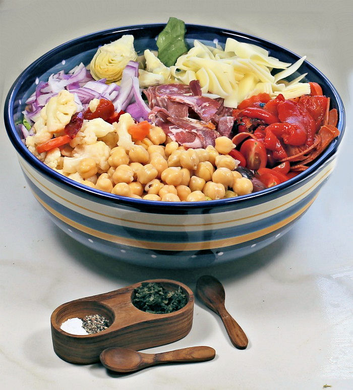 Healthy antipasto salad in a bowl