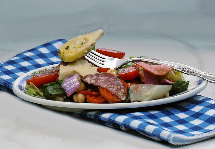 Bite of antipasto salad
