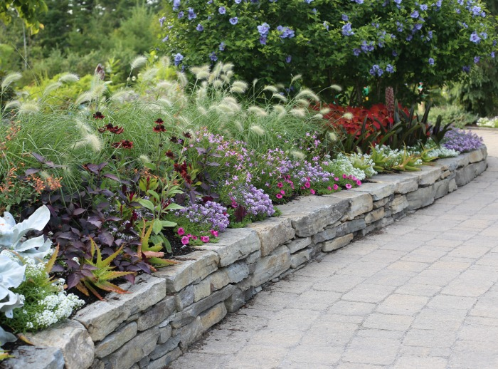 Garden path with rock wall