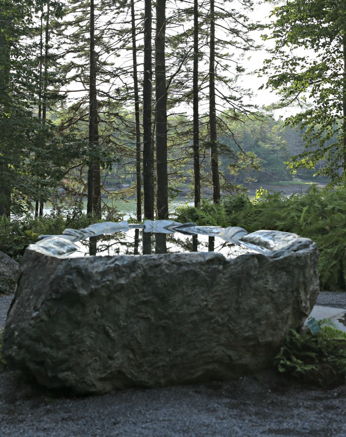 carved Granite basin in the meditation garden of Coastal Maine Botanical Gardens