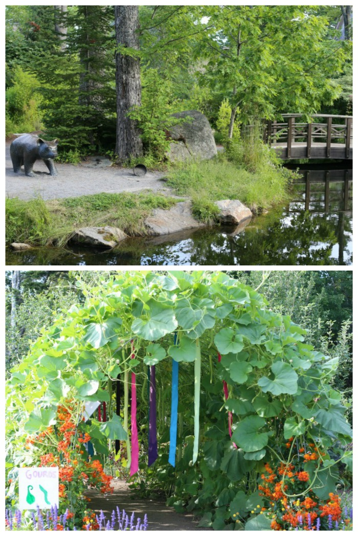 Children's garden in Boothbay Botanical gardens has animal statures, bridges over ponds and an arbor made of gourd vines