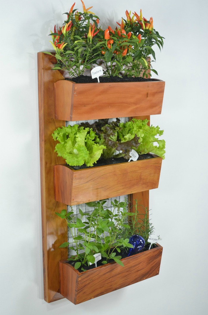 Tiered wall planter made from wood