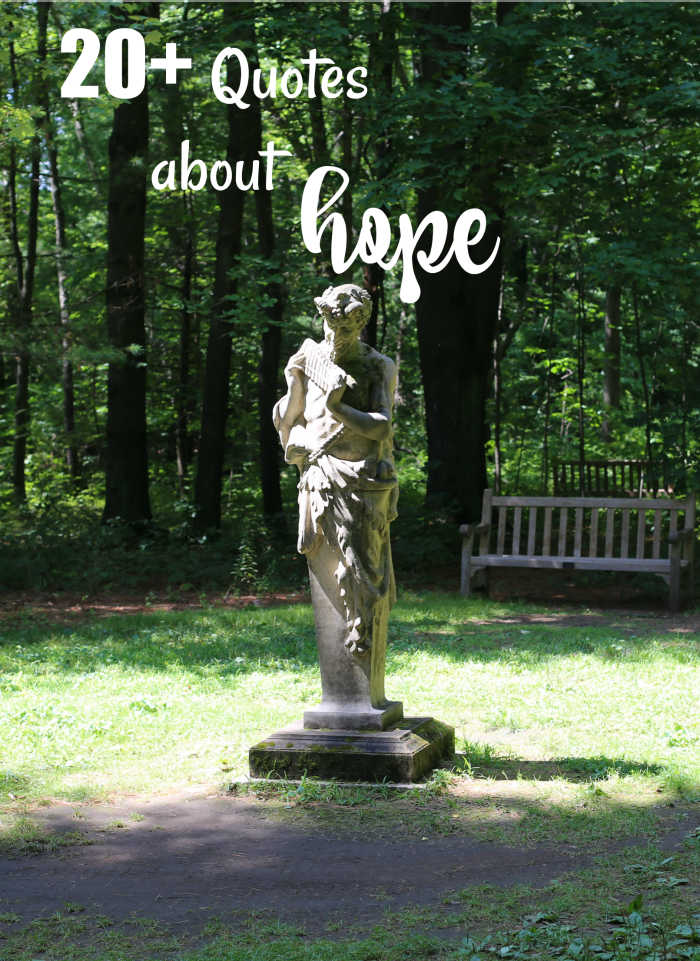 Statue in a garden with text over lay reading 20+ quotes about hope.