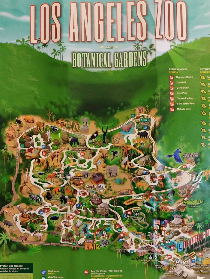 Los Angeles Zoo and Botanical Gardens map