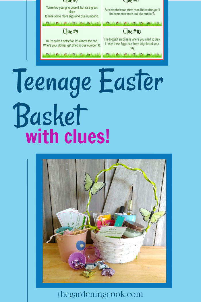 Easter basket with candy, candles, coffee mug and clues and words reading teenage Easter basket with clues.