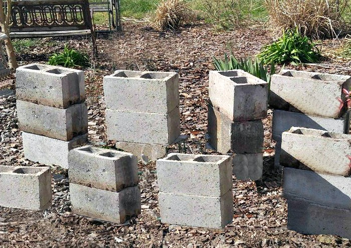 Concrete blocks for a raised garden bed