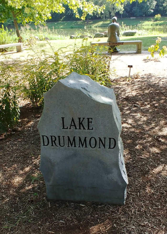 Stone marker for Lake Drummond