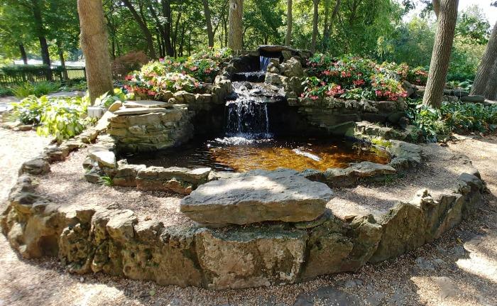 The fountain in the Springfield Botanical Garden Hosta Garden