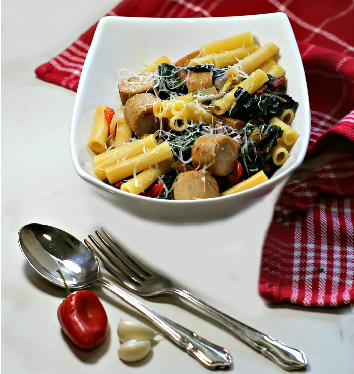 Swiss chard with pasta and sausages