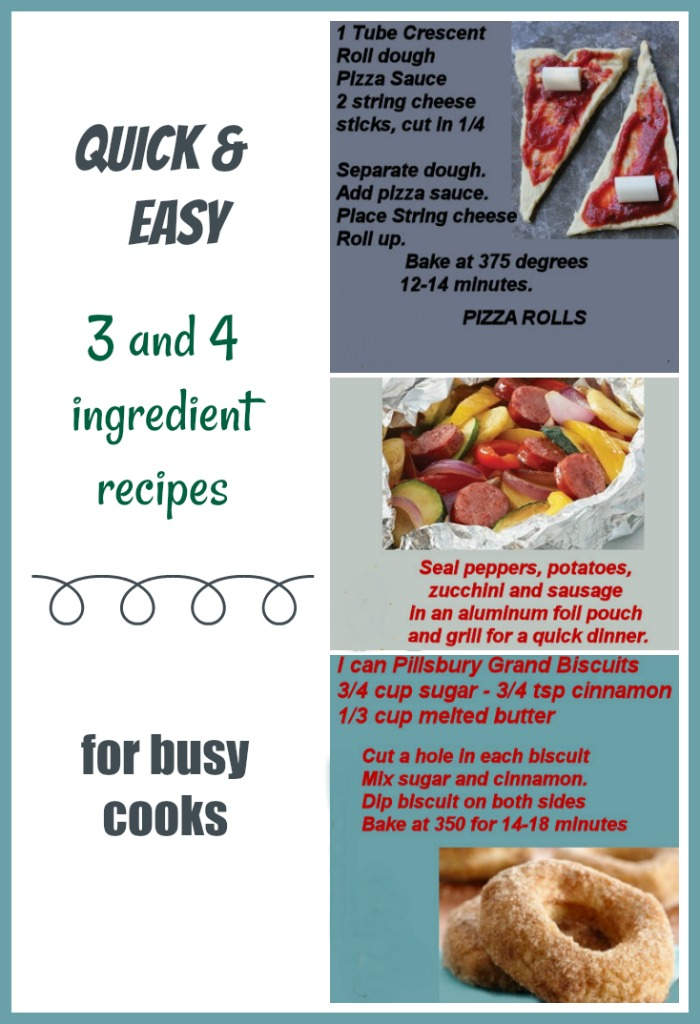 3 and 4 ingredient recipes