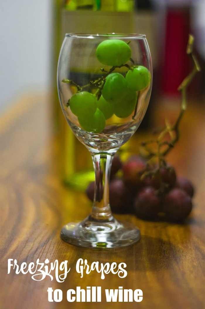 Freeze grapes to chill wine