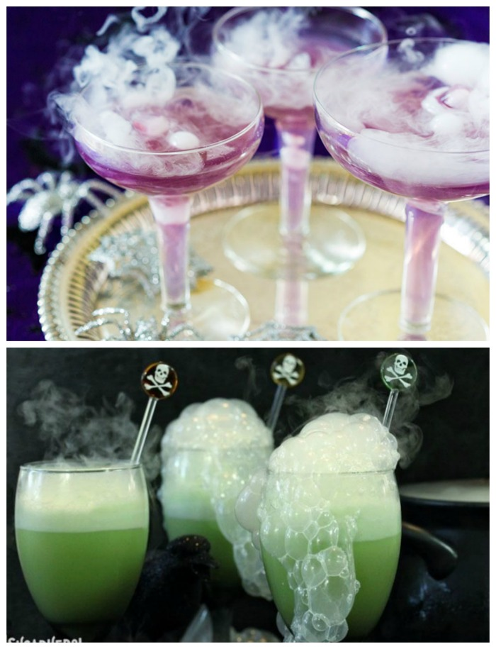 Witches brew cocktails using dry ice