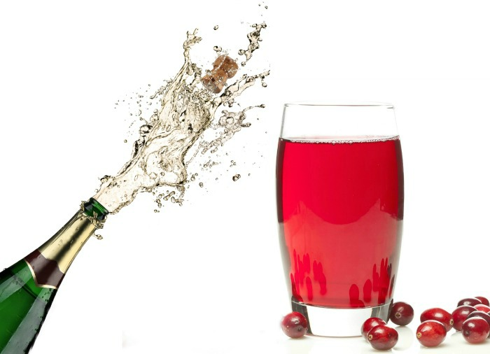 cranberry juice and champagne bottle.