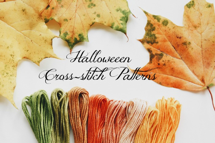 Halloween cross stitch patterns with leaves and yarn