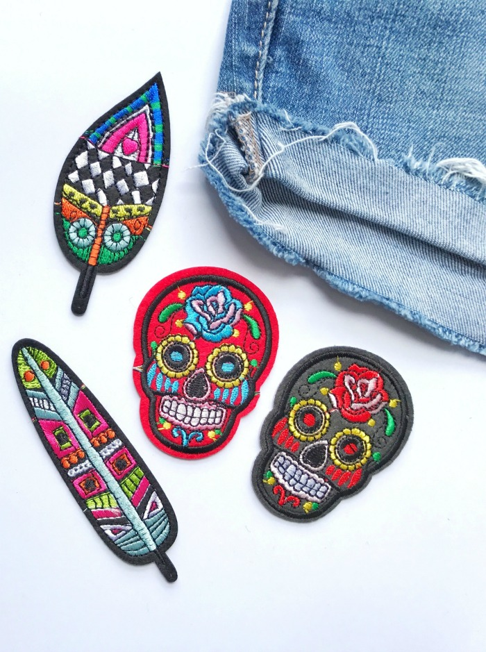 Halloween cross-stitch patterns - Embroidered patches for jeans.