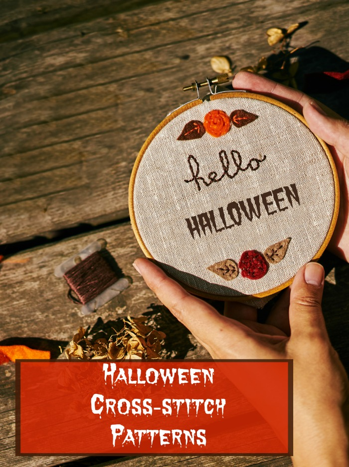 "Making an embroidery project with text reading ""Halloween cross-stitch patterns."""