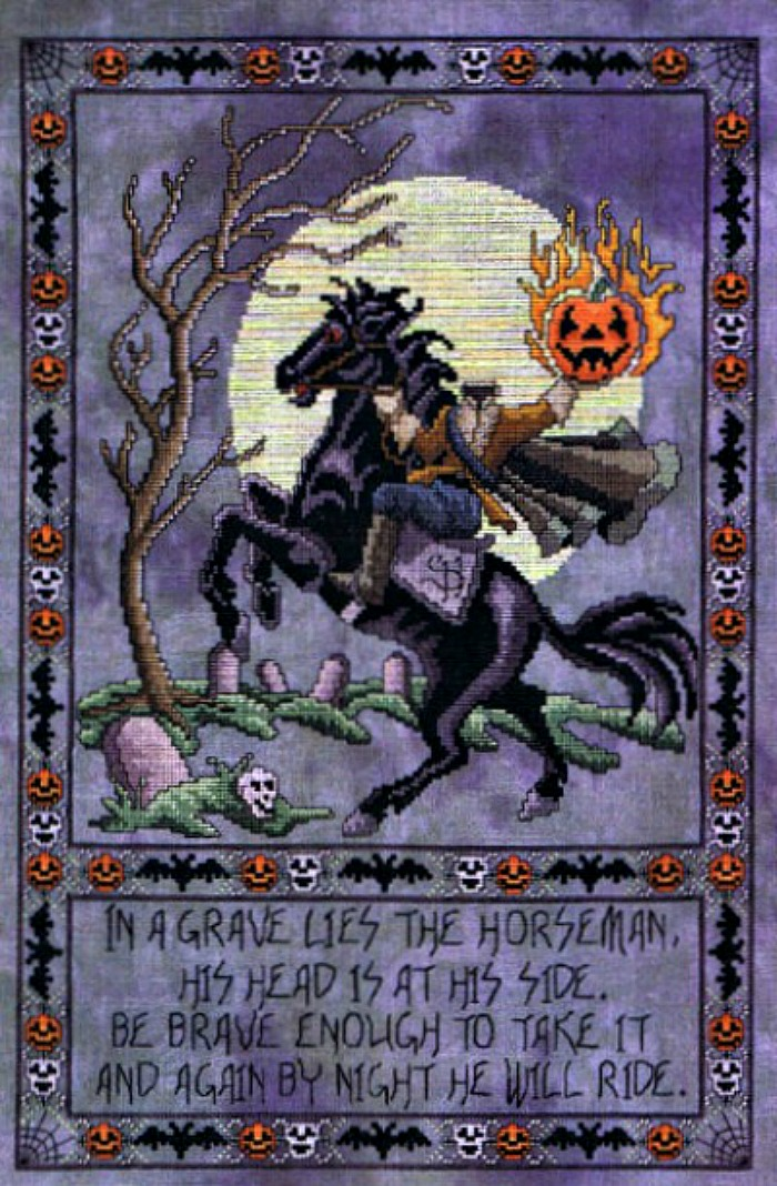 Halloween cross-stitch patterns - Headless horseman cross-stiitch