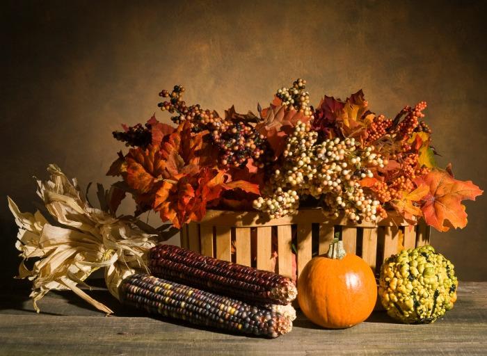 Indian corn basket display.