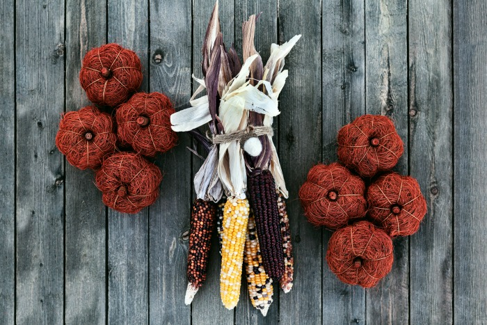 Indian corn with yarn pumpkins.