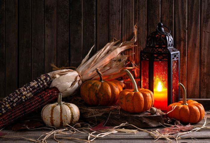 Indian corn display with lantern and pumpkins.