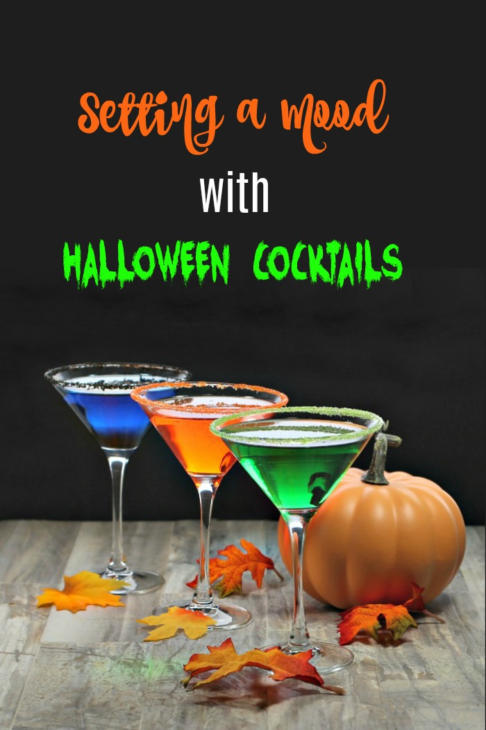 "3 Colorful drinks with text reading ""setting a mood with Halloween Cocktails"""