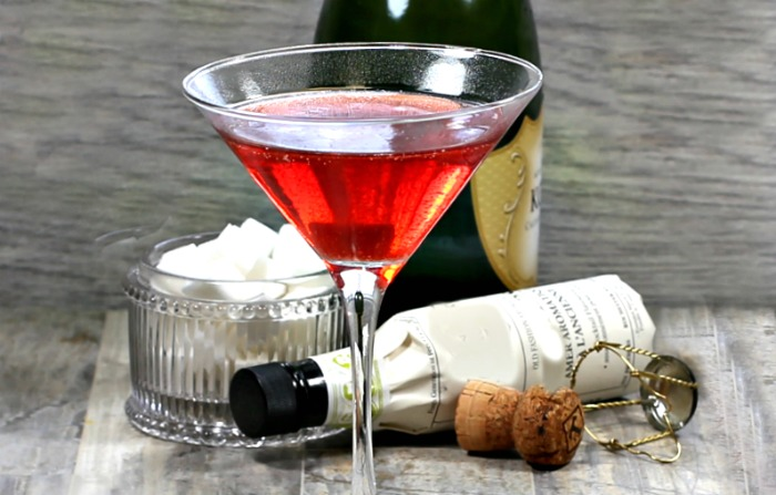 Sugar cube in champagne cocktail.