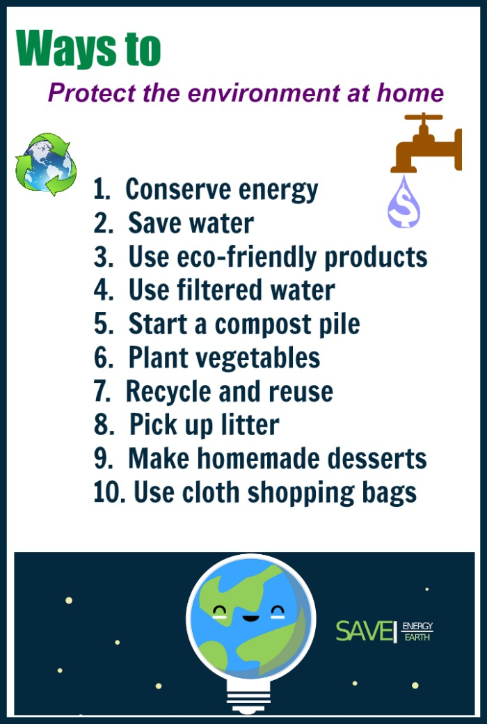 Printable showing a list of 10 ways to protect the environment at home.